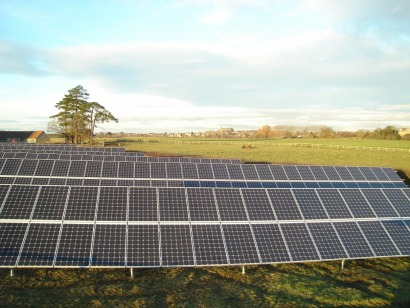 The 120 kW ground mounted solar PV array at Malmesbury recorded in Regen SW's 2011 Annual Progress Report (Source: Sunstroom)